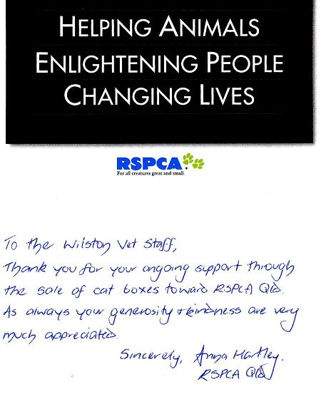 thankyou note rspca